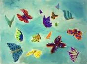 Peinture avec des papillons réalisée par un élève du cours de dessin et de peinture Entretoile réalisés